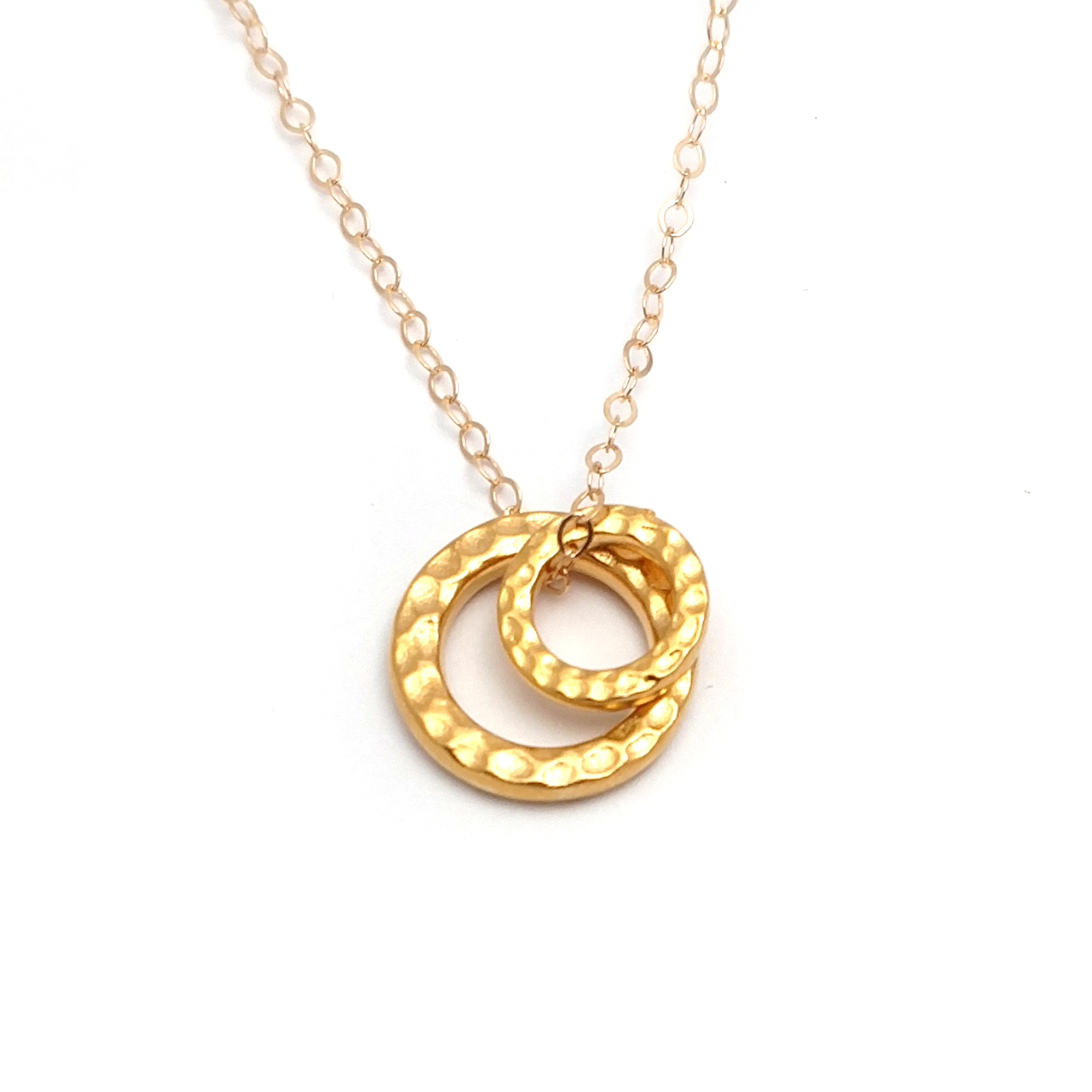 Double hammered ring 14k gold filled necklace soasa designs for Gold filled jewelry