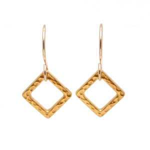 GF Hammered Ring Square Earring copy