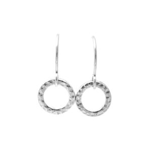 SS Sm hammered ring earrings