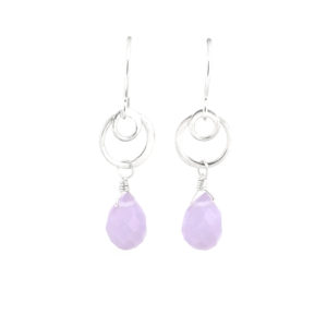 SS Purple Chalcedony Ripple Earrings